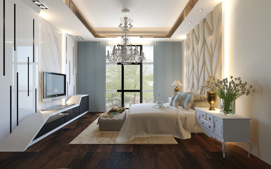 white bedroom interior design at the royale cheras by MSR Design